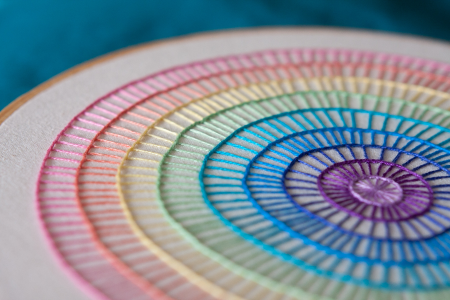 rainbow circle embroidery