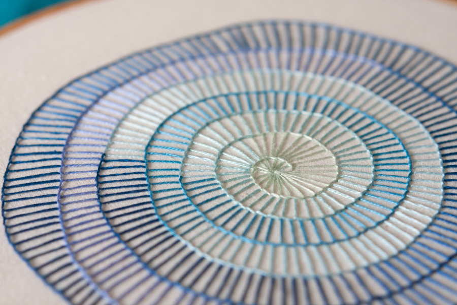 blue spiral embroidery