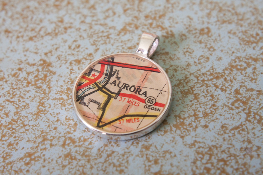 aurora illinois resin map pendant