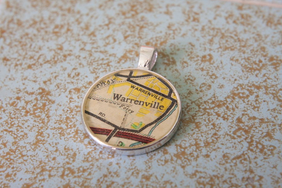 warrenville illinois resin map necklace