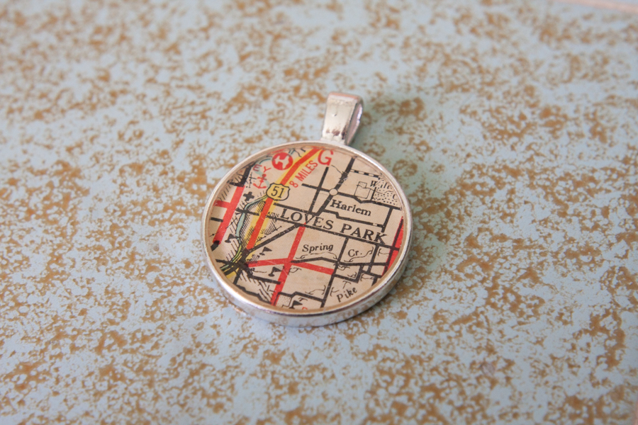 loves park illinois resin map pendant