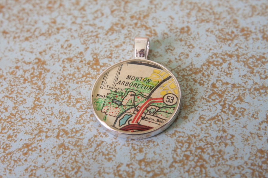 morton arboretum resin map necklace