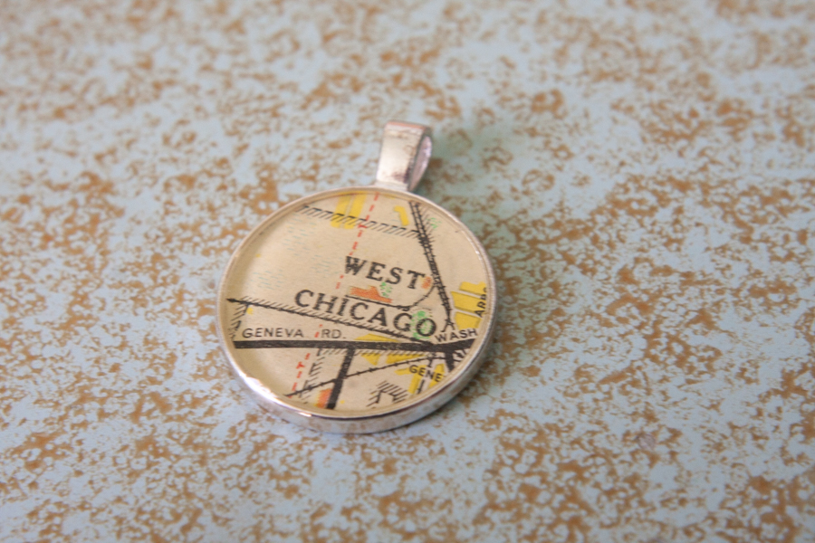 west chicago illinois resin map pendant
