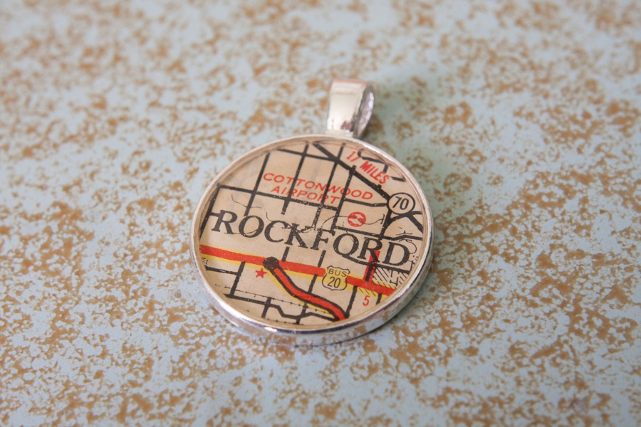 rockford illinois resin map necklace