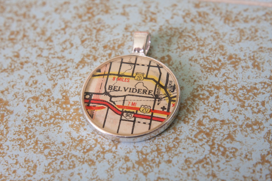 belvidere illinois resin map pendant
