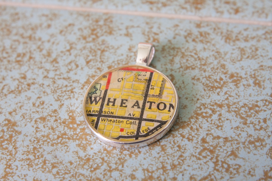 wheaton illinois resin map pendant