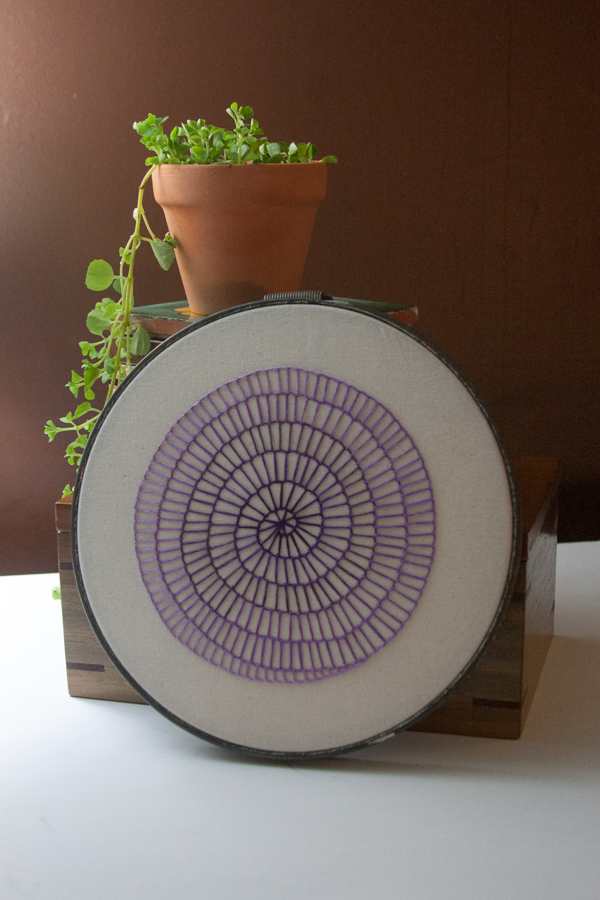 april etsy update purple spiral embroidery
