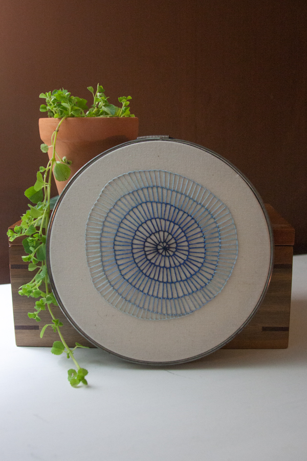hand embroidered blue spiral for sale