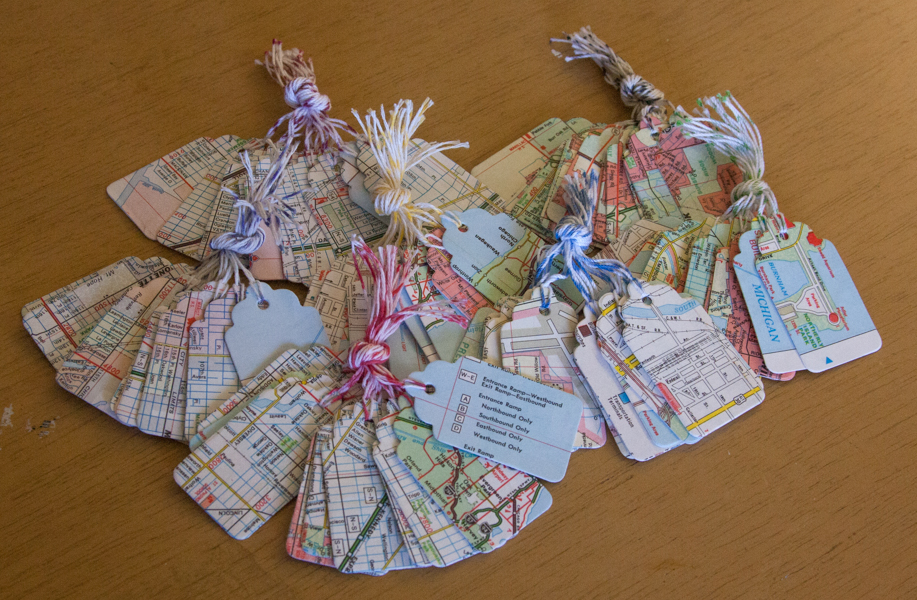 chicago map paper gift tags