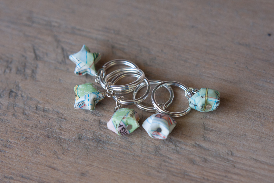 paper map stitch marker silver